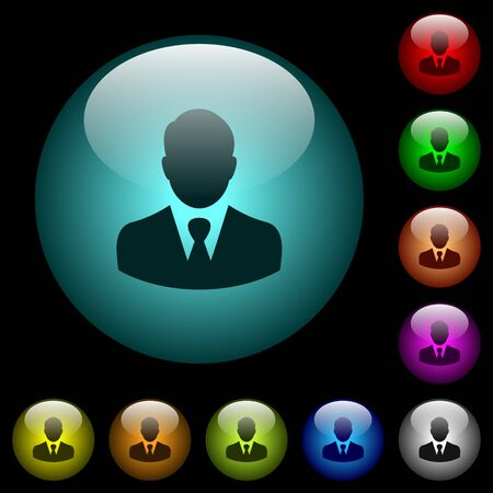 Businessman avatar icons in color illuminated spherical glass buttons on black background. Can be used to black or dark templates Illustration
