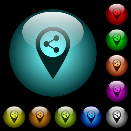 Share GPS map location icons in color illuminated spherical glass buttons on black background. Can be used to black or dark templates