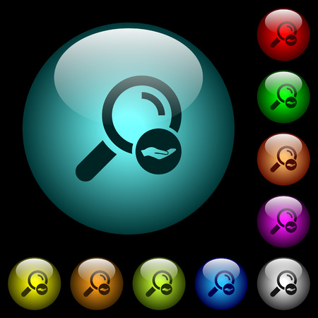 Search services icons in color illuminated spherical glass buttons on black background. Can be used to black or dark templates Illusztráció