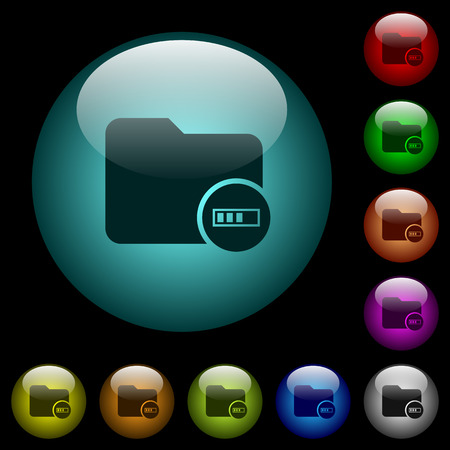 Directory processing icons in color illuminated spherical glass buttons on black background. Can be used to black or dark templates