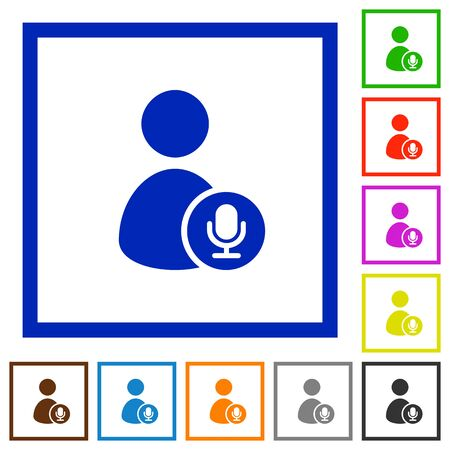 User broadcasting flat color icons in square frames on white background