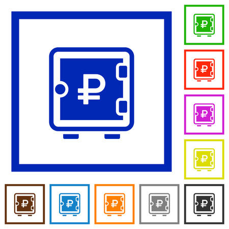 Ruble strong box flat color icons in square frames on white background
