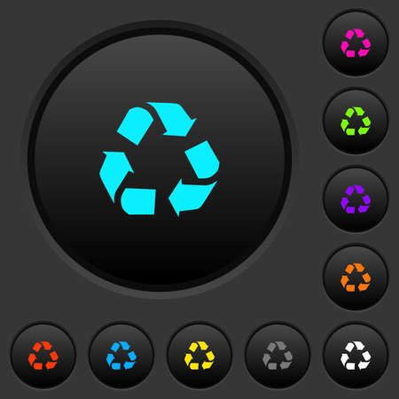 Recycling dark push buttons with vivid color icons on dark grey background