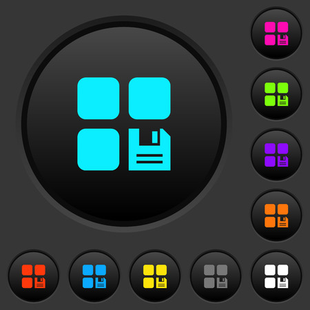 Save component dark push buttons with vivid color icons on dark grey background