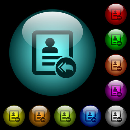 El contacto responde a todos los iconos en botones de cristal esféricos iluminados en color en fondo negro. Se puede usar para plantillas negras u oscuras Ilustración de vector