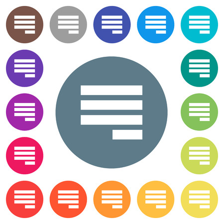 Text align justify last row right flat white icons on round color backgrounds. 17 background color variations are included. Illustration