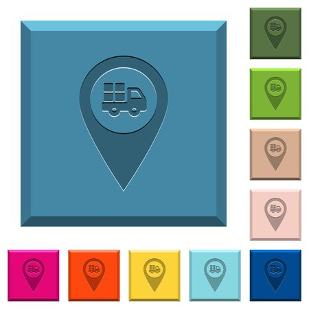Transport service GPS map location engraved icons on edged square buttons in various trendy colors