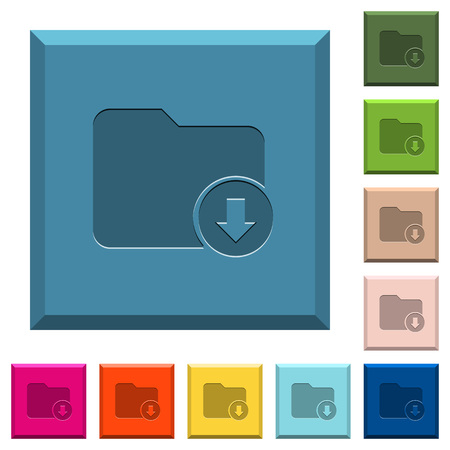 Move down directory engraved icons on edged square buttons in various trendy colors Illusztráció