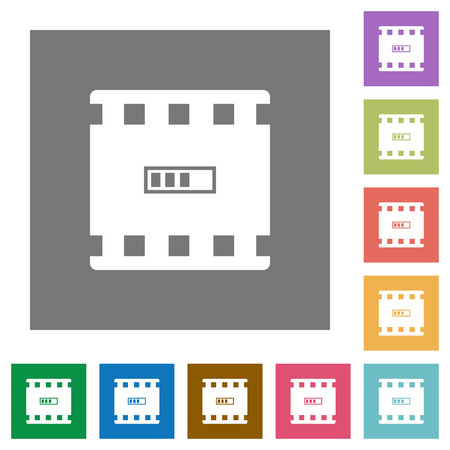 Movie processing flat icons on simple color square backgrounds. Illustration