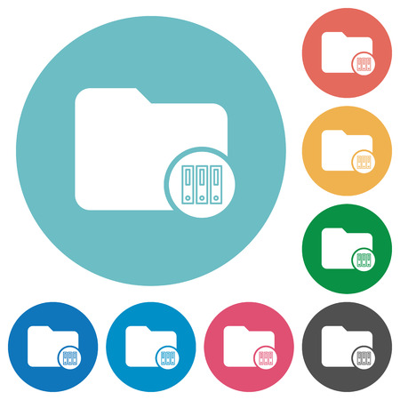 Archive directory flat white icons on round color backgrounds Vector illustration.