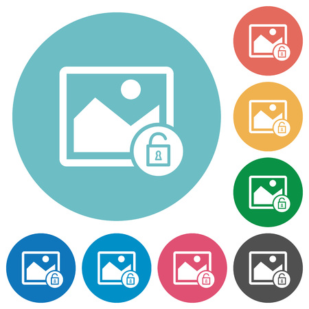 Unlock image flat white icons on round color backgrounds Vector illustration.