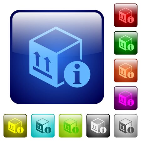 Package information icons in rounded square color glossy button set. Vettoriali