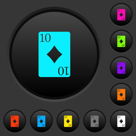 Ten of diamonds card dark push buttons with vivid color icons on dark grey background. Foto de archivo - 98777202