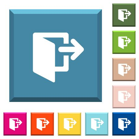 Salga de los iconos blancos en botones cuadrados con bordes en varios colores de moda.