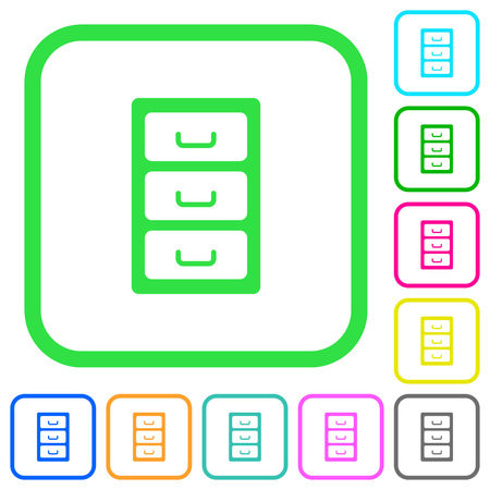 Archive file cabinet vivid colored flat icons in curved borders on white background 矢量图像