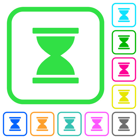 Hourglass vivid colored flat icons in curved borders on white background Vektorové ilustrace