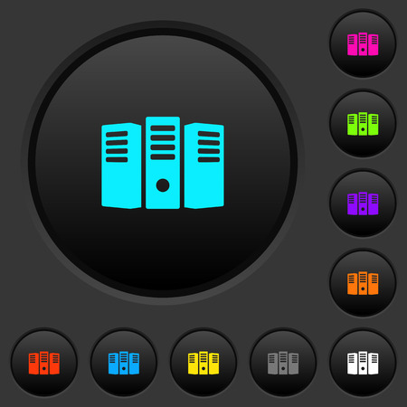 Server hosting dark push buttons with vivid color icons on dark grey background.