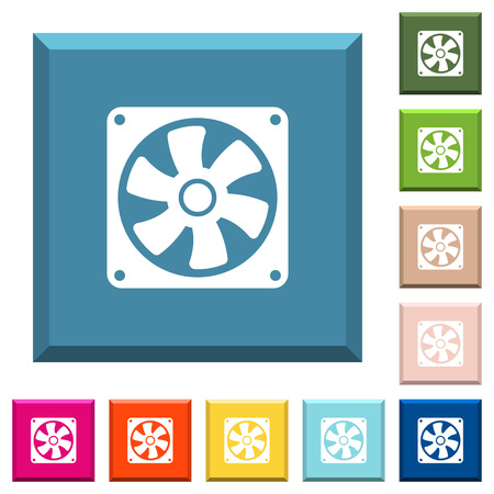 Computer fan white icons on edged square buttons in various trendy colors