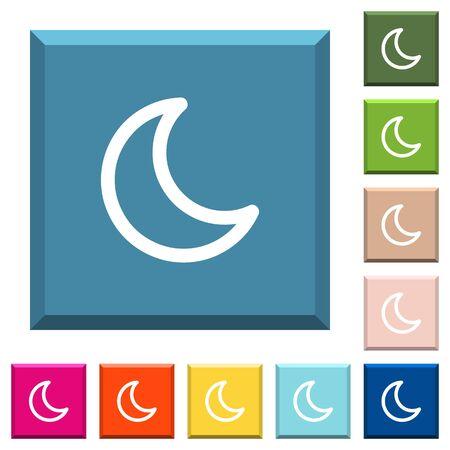 Moon shape white icons on edged square buttons in various trendy colors
