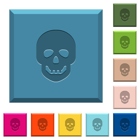 Human skull engraved icons on edged square buttons in various trendy colors