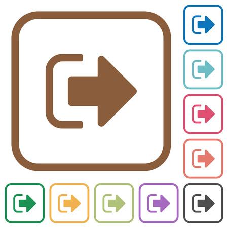 Firme iconos simples en marcos cuadrados redondeados de color sobre fondo blanco