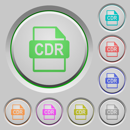 CDR file format color icons on sunk push buttons Illustration