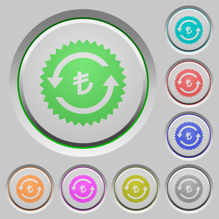 Lira pay back guarantee sticker color icons on sunk push buttons Ilustrace