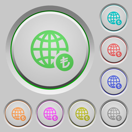 Online Lira payment color icons on sunk push buttons Ilustrace