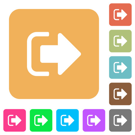 Sign out flat icons on rounded square vivid color backgrounds. Vectores