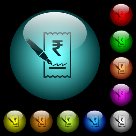 Signing Rupee cheque icons in color illuminated spherical glass buttons on black background. Can be used to black or dark templates