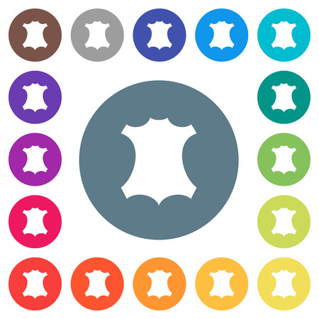 Genuine leather symbol flat white icons on round color backgrounds. 17 background color variations are included.