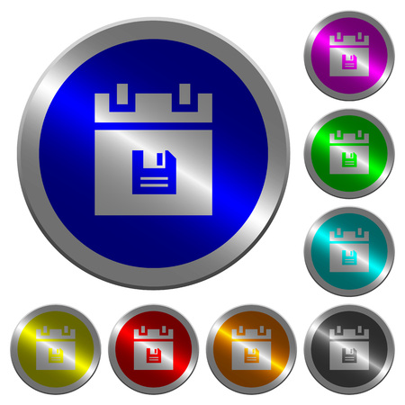 Save schedule data icons on round luminous coin-like color steel buttons 矢量图像