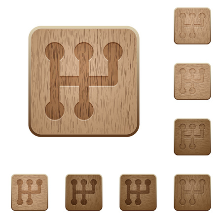 Manual shift on rounded square carved wooden button styles