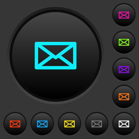 Message dark push buttons with vivid color icons on dark grey background