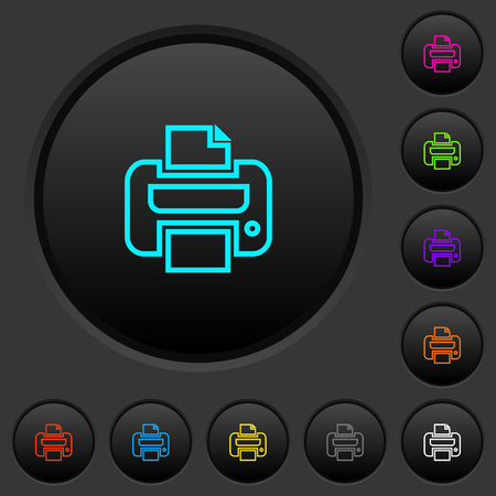 Print dark push buttons with vivid color icons on dark grey background.