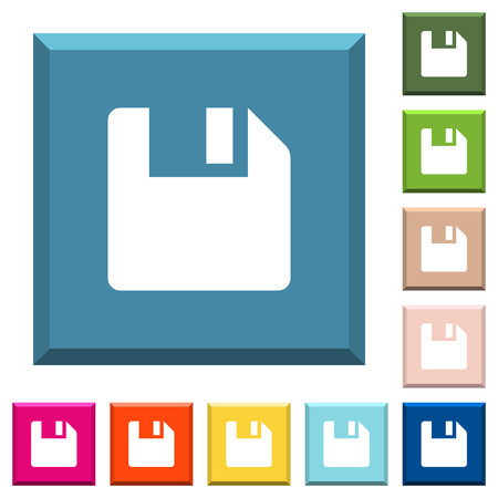 Save data white icons on edged square buttons in various trendy colors