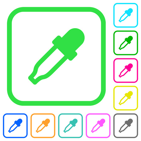 Color picker vivid colored flat icons in curved borders on white background