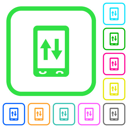 Mobile data traffic vivid colored flat icons in curved borders on white background  イラスト・ベクター素材