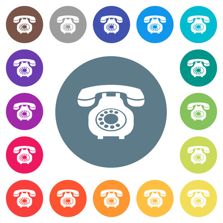 Vintage retro telephone flat white icons on round color backgrounds.