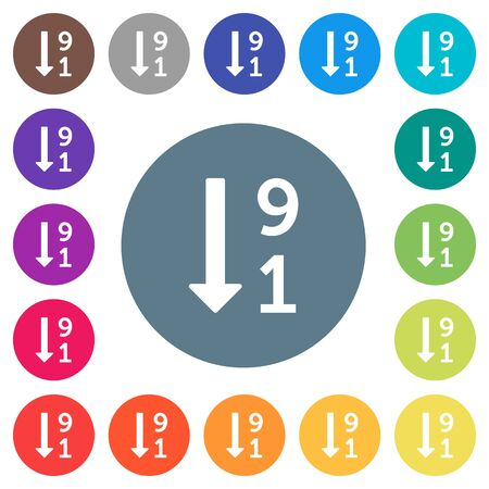 Descending numbered list flat white icons on round color backgrounds. 17 background color variations are included. Foto de archivo - 99079353