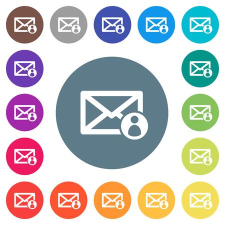 Mail afzender plat witte pictogrammen op ronde kleur achtergronden. Stockfoto - 99066434