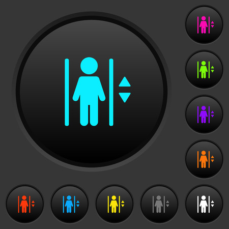 Elevator dark push buttons with vivid color icons on dark grey background  イラスト・ベクター素材