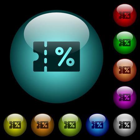 Coupon icons in color illuminated spherical glass buttons on black background. Illusztráció