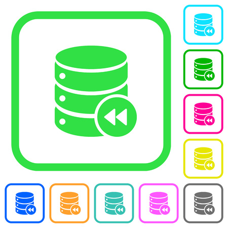 Database macro fast backward vivid colored flat icons in curved borders on white background