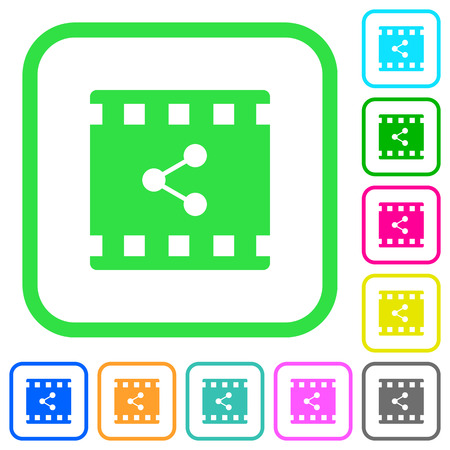 Share movie vivid colored flat icons in curved borders on white background