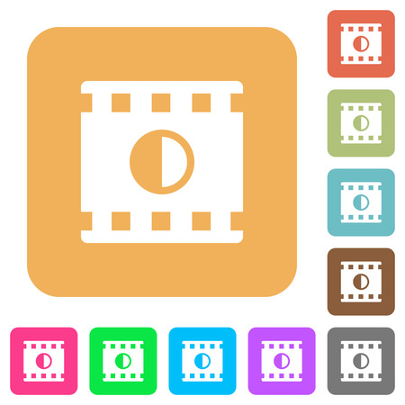 Movie contrast flat icons on rounded square vivid color backgrounds. Illusztráció