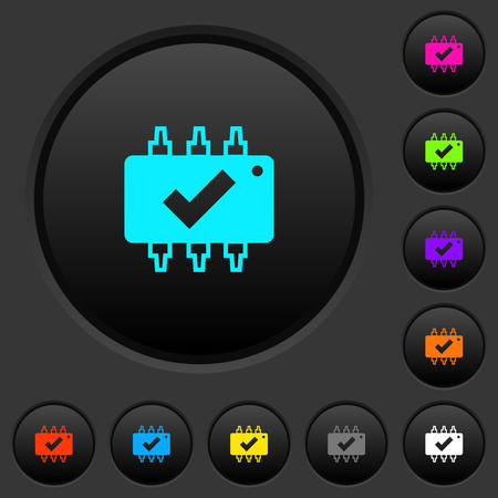 Hardware checked dark push buttons with vivid color icons on dark gray background