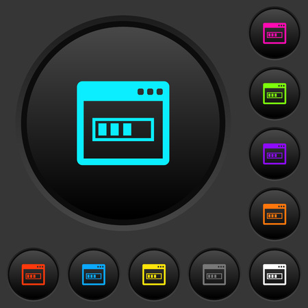 Application installing dark push buttons with vivid color icons on dark gray background
