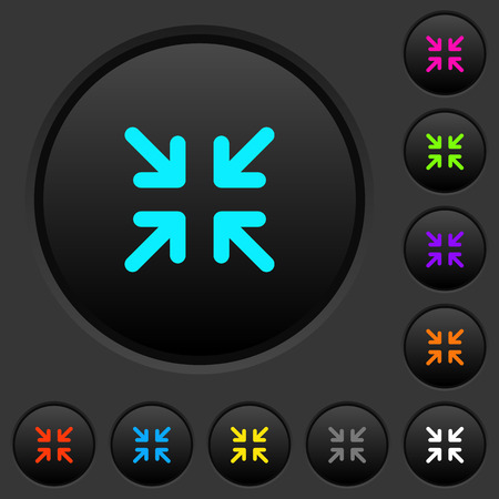 Minimize arrows dark push buttons with vivid color icons on dark gray background