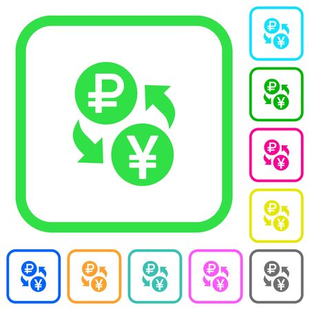 Ruble Yen money exchange vivid colored flat icons in curved borders on white background
